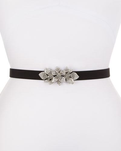 Floral Rhinestone-Buckle Silk Faille Belt, Black