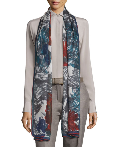 I Giardini Bizantini Soffio Cashmere & Silk Scarf, Gray/Red