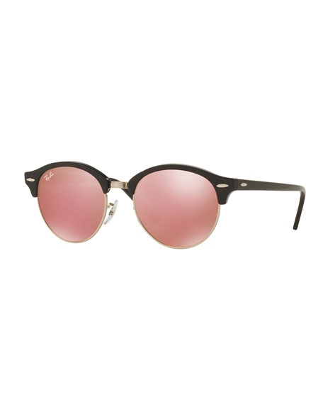 Round Mirrored Clubmaster® Sunglasses, Black/Pink