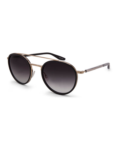 Justice Gradient Round Sunglasses, Black/Gold