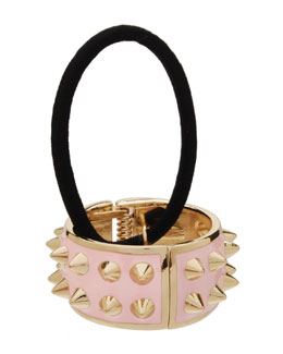 Spiked Enamel Ponytail Holder with Cuff, Light Pink