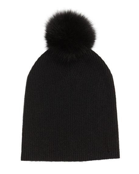 Cashmere Slouchy Hat w/Fur Pom Pom, Black