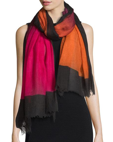 Faliero Sarti Mika Colorblock Wool Scarf, Pink/Orange