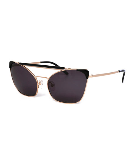Grey Ant Chat Brow-Bar Cat-Eye Sunglasses, Black/Gold