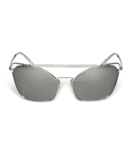 Chat Brow-Bar Cat-Eye Sunglasses, Silver