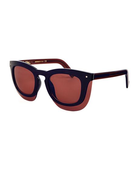 Inbox Oversize Square Sunglasses, Navy/Plum