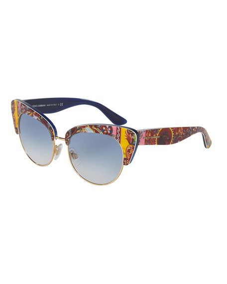 Dolce & Gabbana DNA Semi-Rimless Cat-Eye Sunglasses, Multicolor