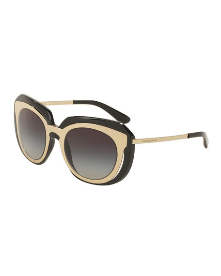 Dolce & Gabbana DNA Metal-Inset Butterfly Sunglasses, Black
