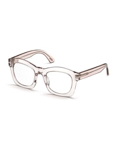 Greta Square Optical Frames, Transparent Pink