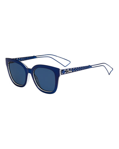 Diorama Caged Monochromatic Sunglasses, Blue