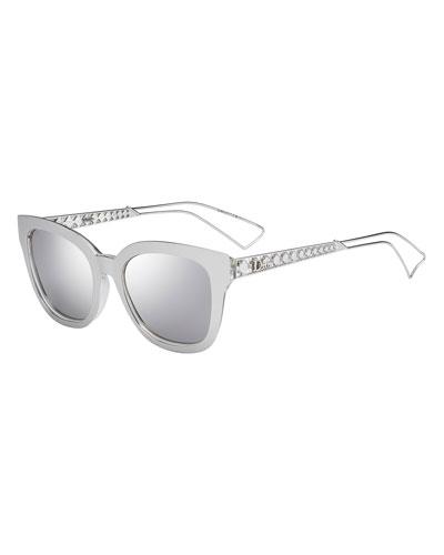 Diorama Caged Mirrored Sunglasses, Silver