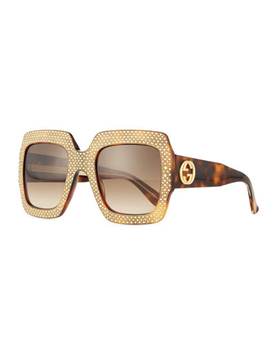 Crystal-Trim Square Gradient Sunglasses, Havana