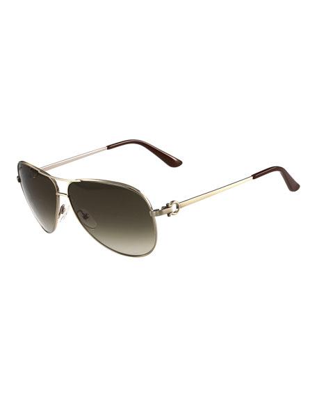 Salvatore Ferragamo Gradient Aviator Sunglasses, Brushed Gold