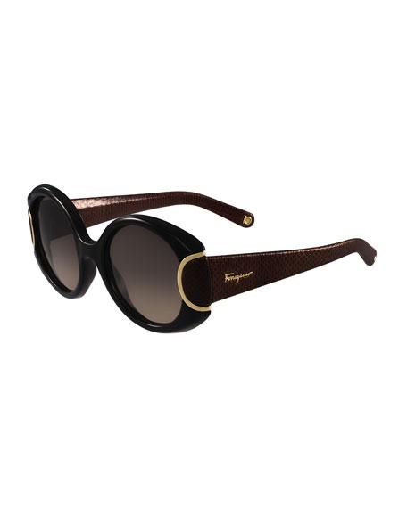 Salvatore Ferragamo Round Leather-Trim Sunglasses, Black/Chocolate