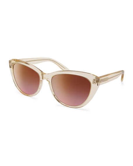 Graziana Cat-Eye Acetate Sunglasses, Champagne/Lilac