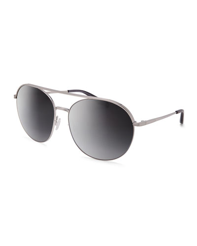 Luna Round Mirrored Sunglasses w/Brow Bar, Silver