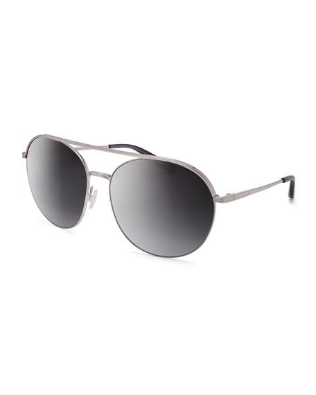 Luna Round Mirrored Sunglasses w/Brow Bar, Silver