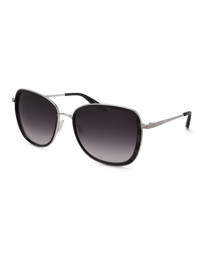 Tiegs Gradient Square Sunglasses, Black Marble/Silver