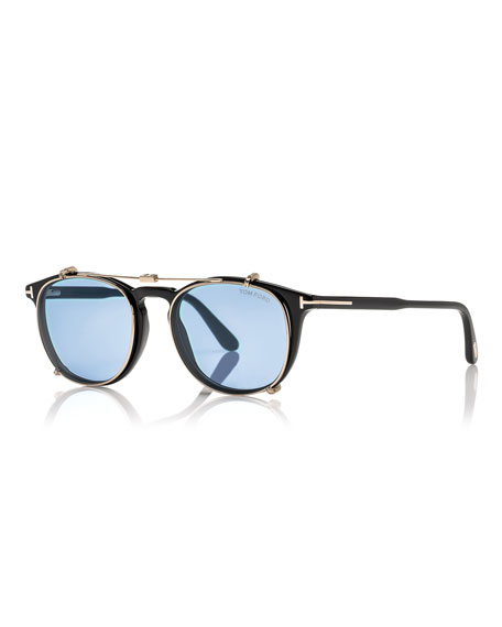 TOM FORD Round Optical Frames w/Clip-On Sunglasses Shades ...