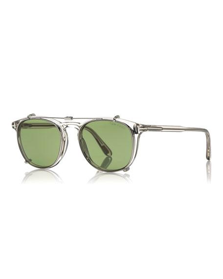 60da50bdef TOM FORD Round Optical Frames w Clip-On Sunglasses Shades