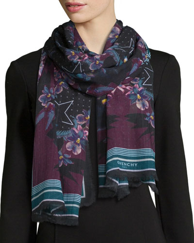Ultra Paradise Floral Wool Scarf, Purple