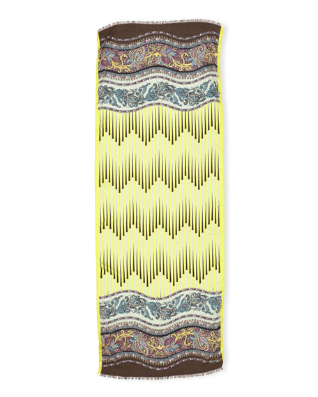 Wool-Blend Stripe & Paisley Scarf, Citron