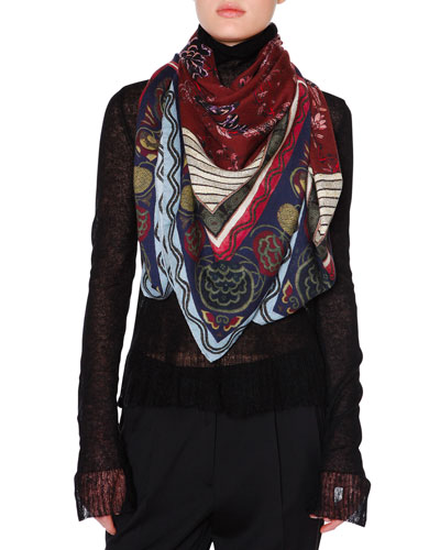 Bombay Silk & Cashmere Printed Square Shawl, Bordeaux/Blue