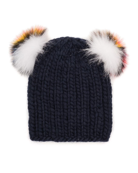 Mimi Knit Beanie Hat w/Fur Pompoms, Navy