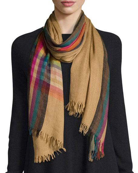 Faliero Sarti Bill Wool & Silk Scarf, Orange/Multicolor