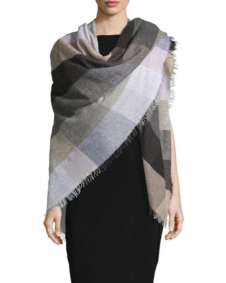 Faliero Sarti Siriana Check Wool-Blend Scarf, Lavender