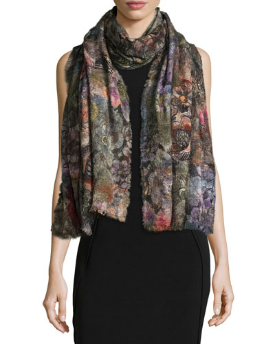 Leandra Floral Wool-Blend Scarf, Multicolor