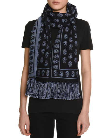 Alexander McQueen Skull-Print Cold Weather Scarf, Navy/Sky Blue
