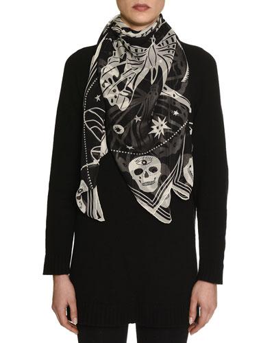 Zodiac Skull Silk Scarf, Black/Ivory