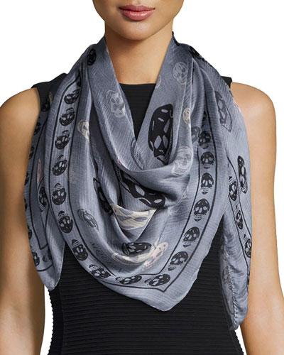 Silk Mixed Skull Foulard Scarf, Gray/Black