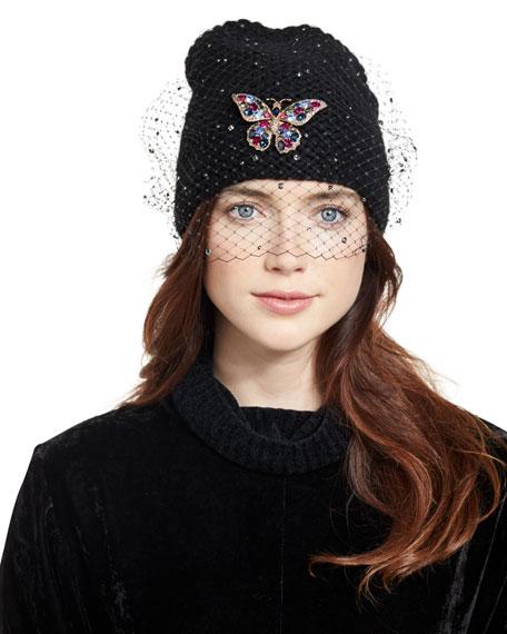 Jennifer Behr Mariposa Voilette Cashmere Beanie Hat, Black