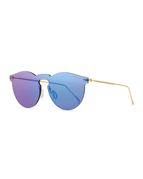 Illesteva Leonard Rimless Mirrored Sunglasses, Teal