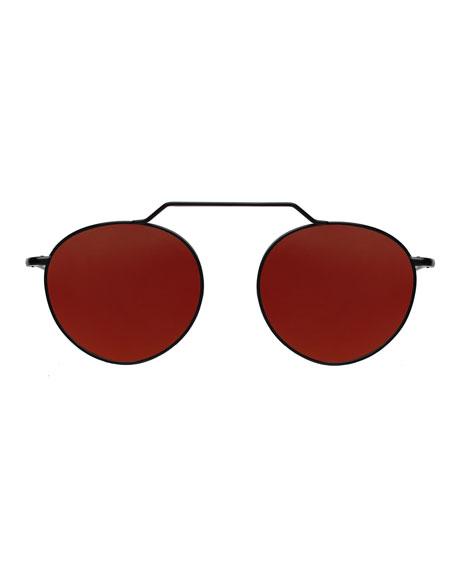 Wynwood Round Stainless Steel Sunglasses, Black/Orange