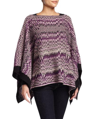 Knit Zigzag Poncho, Purple/White