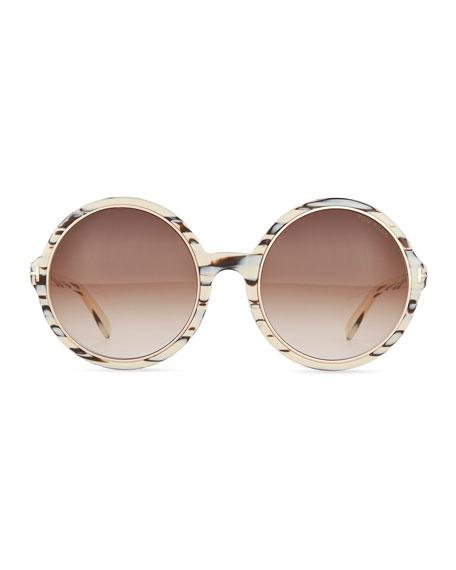 Round Gradient Woodgrain Sunglasses, Brown/Ivory