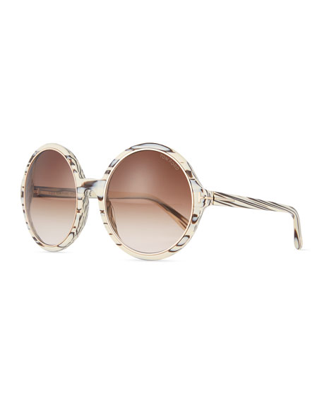 Round Gradient Woodgrain Sunglasses, Brown/Ivory
