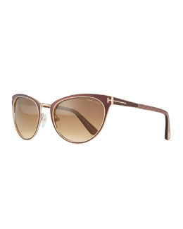 Two-Tone Cat-Eye Sunglasses, Brown