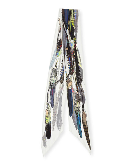 Feathers Super Skinny Silk Scarf, Ivory