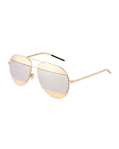 DiorSplit Two-Tone Metallic Aviator Sunglasses, Silver/Rose Golden