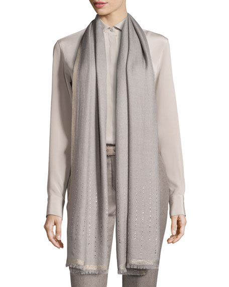 Stella Cadente Cashmere & Silk Stole, Silver Quartz