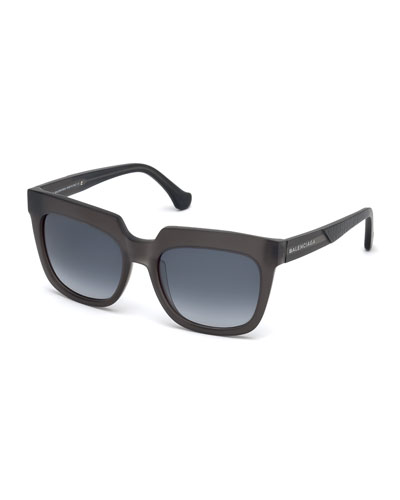 Textured Square Mirrored Sunglasses, Dark Gray