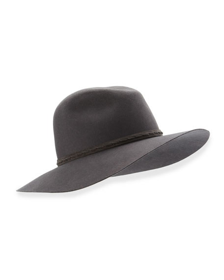 Wide-Brim Wool Felt Fedora Hat, Brown