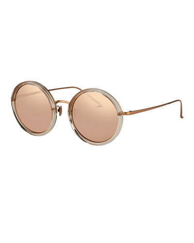 Trimmed Round Mirrored Sunglasses, Rose Gold