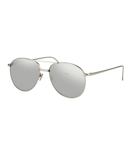 Linda Farrow Mirrored Aviator Sunglasses, White Gold/Platinum