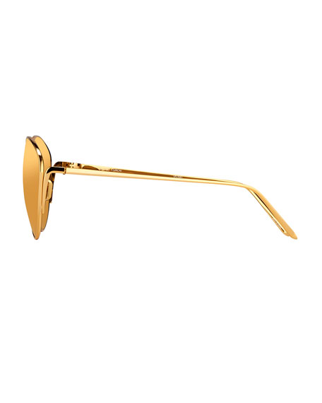 Mirrored Oval Sunglasses, Yellow Gold