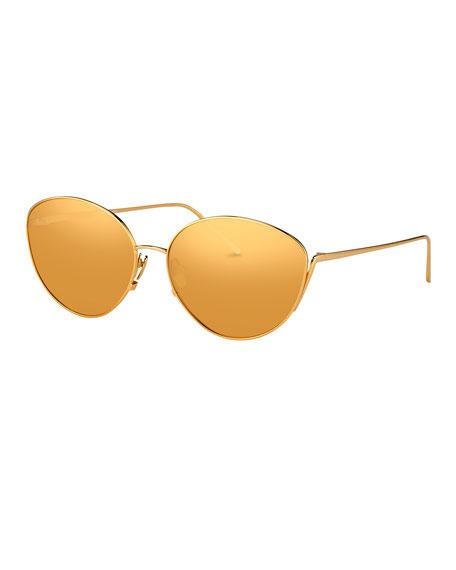 4e7d7649f890 Linda Farrow Mirrored Oval Sunglasses
